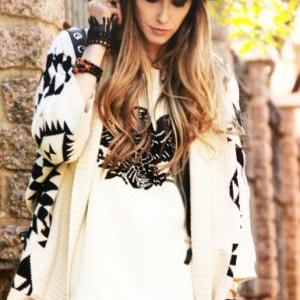 Over Sized Aztec Bat Wing Sweater C..