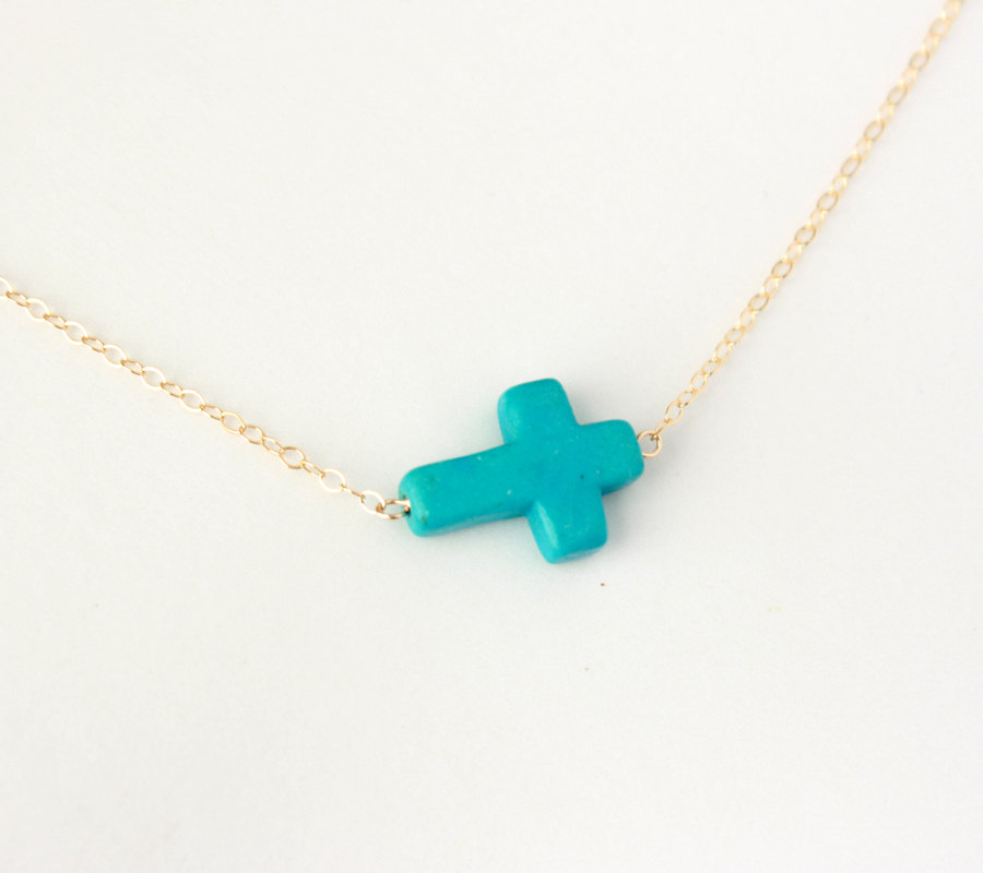 Turquoise Sideways Cross Necklace