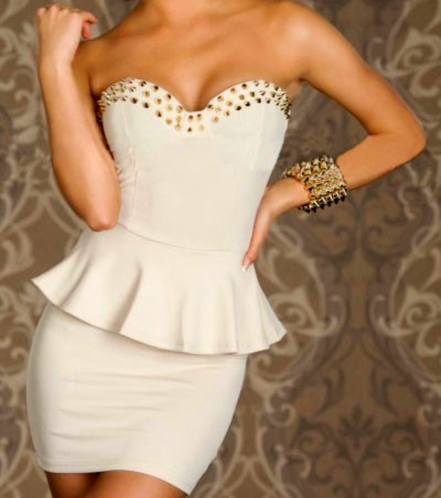 Strapless Peplum Nail Studded Cocktail Dress