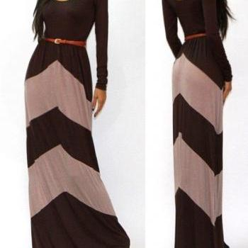 BROWN BEIGE CHEVRON COLOR BLOCKED LONG SLEEVED EMPIRE WAISTED MAXI DRESS